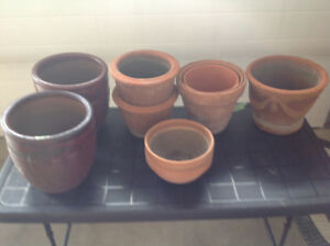 Assorted clay flower pots