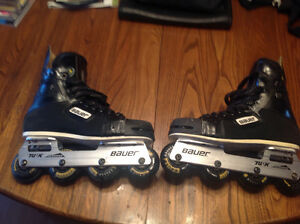 PRO BAUER ROLLER HOCKEY SKATES-SIZE 9-IN GREAT SHAPE-EXTRAS