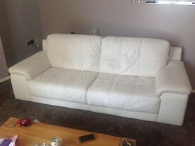 Large cream 3 seater leather sofa good condition must be able to collect