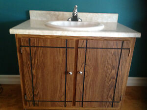BATHROOM SINK WITH FAWCET AND CABINET