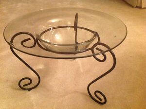 Glass Bowl on Wrought Iron Stand