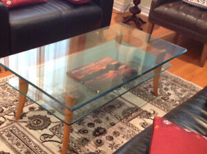 Glass top coffee table.