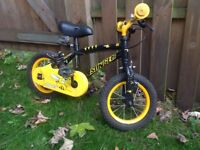 """Boys bmx bike, 12"""" wheels, black/yellow, rides well and in good order"""