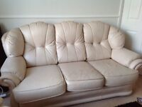 Leather settee and 2 chairs