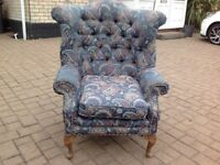 Antique Queen Anne Chesterfield Wing Back Chair