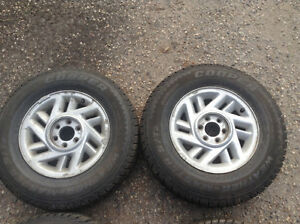 215/75R15 4 steel studded winter tires on 6 bolt rims