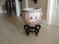 Oriental fish planter pot