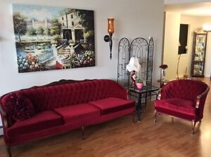 Beautiful Antique Couch and Chair (Deep Red Velvet)