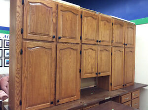 Gently Used Honey Oak Kitchen Upper Cabinets
