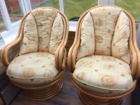 2 x Large Cane Chairs