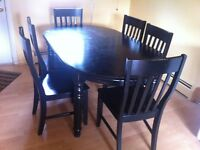 Black, 6 seats, with leaf, kitchen table