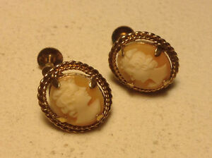 Vintage Cameo Earrings Carved Shell In Rolled Gold Frame Marked