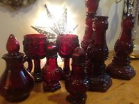 Lot of Vtg. Cranberry Cape Cod Avon Glass