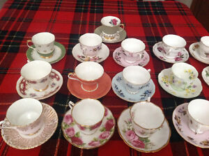 Vintage 1950s Bone China Cups & Saucers -$10 EACH SET