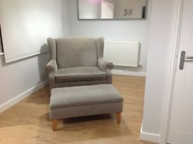 Snuggler chair & footstool