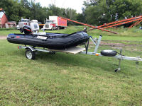Sea ax HD380 12.5 ft Inflatable pontoon Boat, motor, trailer