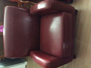 Two club chair for sales 1 leatherette is wearing 2nd no wear