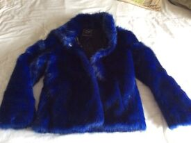 Next girls electric blue fur jacket age 11-12