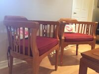 Solid teak chairs & occasional table set
