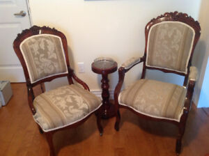 PRICE REDUCED ON ANTIQUE VICTORIAN PARLOUR CHAIRS.