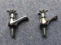 Pair of Chrome Plated Brass Basin Taps 1/2 inch