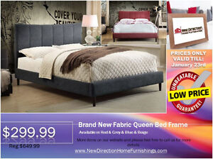 ◆STOCK CLEARANCE! Brand New Fabric Queen Bed Frame@ND◆