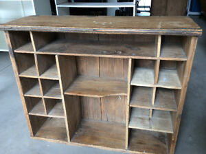 Rustic wooden wall cubbies