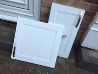 FREE - Twelve white cupboard doors, with metal handles