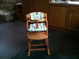 High Chair with harness and padded seat and back covers by Baby Dan