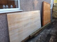Fence panels, fence posts and plywood
