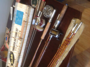 ANTIQUE BAMBOO FISHING RODS, OCTAGON, FIVE AND THREE PIECES, ETC