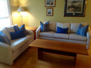 Exceptional BAUHAUS Sofa & Love Seat & solid Denmark TEAK tables
