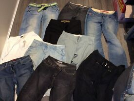 Ladies clothing - 11 pairs of jeans/casual trousers size 12/14 short - some hardly worn