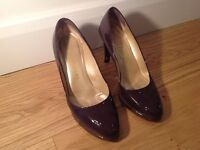 Russell and Bromley Dark Purple Patent Leather Heels. Size 38.5