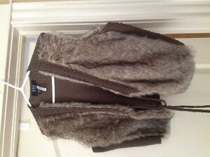 BEIGE & BROWN FUR VEST