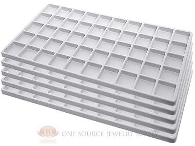 5 White Insert Tray Liners W/ 50 Compartments Drawer Organizer Jewelry Displays