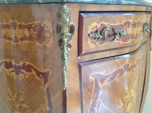 Antique Gilt Bronze Mounted Louis XV Style Inlaid Side Cabinet