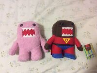 "Pink Domo and super Domo plushies 7"" tall"