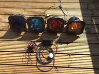 DJ/disco lighting Par 64 light cans with leads, mains, foot pedal, in excellent condition