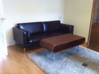 Three to Four Seat Sofa in very Dark Brown/Black Leather