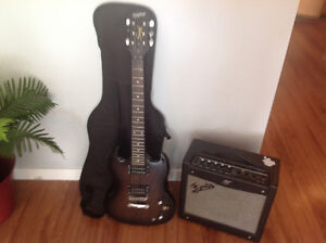 Fender amp and electric guitar case