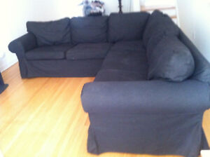 Functional black cotton sectional couch with removable cushions