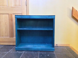 Quality wood, turquoise stained book shelf