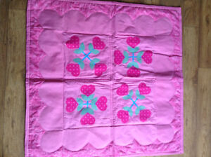 Homemade Flower Hearts Quilt! Great baby gift!