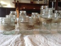 32 various size jam jars perfect for wedding table centre pieces