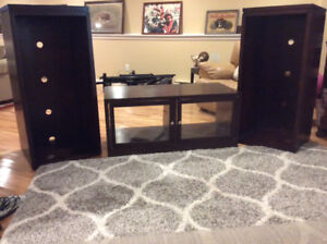 Entertainment unit plus area carpet.