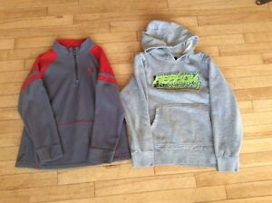 Boys size 12 Under Armour sweater and Reebok hoodie
