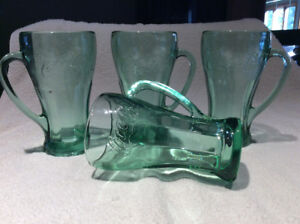 Vintage Coca-Cola Green Glass Mugs Set of 4