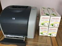 Hewlett Packard HP Laserjet 2550n with individual spare toner cartridges & drum (including spares)