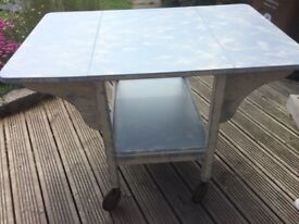Table with drop sides & shelf